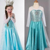 Baju Anak Dress Frozen Long Wing