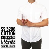 Jual Baju Kemeja Lengan Pendek Polos Casual Pria Putih Slimfit 3094 Murah