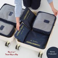 Jual koleksi organizer New 6in1 Korean Travel Bag in Bag POLKADOT (1 set Murah