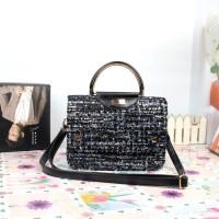 tas jinjing hitam rainbow gagang emas kuat kain wool import simplicite