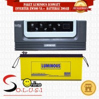 PAKET INVERTER ECO WATT 900VA 12V + AKI 200AH 12V LUMINOUS