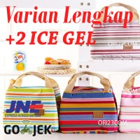 Jual Lunch bag Cooler Bag Motif Salur Free 2pcs jelly ice / Tas Bekal Murah