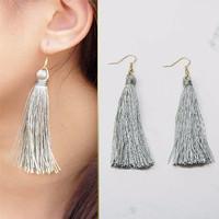 Jual Anting Korea Tassel Simple Fashion Elegant Import Kekinian Hits JUN001 Murah