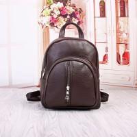 tas rucksack punggung back pack cokelat tua choco wanita pelajar retro