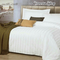 Bed Cover Set Hotel Polos Putih Salur - Queen Size - 160x200x30cm