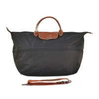 Longchamp Le Pliage Expandable Travel Duffle Nylon Tote - Black
