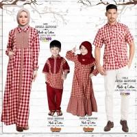 Baju Muslim Keluarga Clover Clothing Arqila - Couple Motif Kotak2 RED