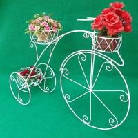 Jual Sepeda pot bunga shabby besi putih dekorasi hiasan taman rumah murah Murah