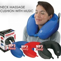 Jual Bantal Pijat Leher Elektrik Neck Pillow Massager + MP3 Cushion Design Murah