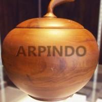 Toples Kayu Jati Model Apel   Wooden Jars in Apple Shape (Teak Wood)