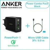 ANKER PowerPort Plus 1 Port Quick Charge 3.0 With Micro USB Cable 3ft