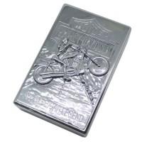 Korek Elektrik Besi Motif Motor Sport - Silver