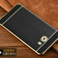 LEATHER CHROME SOFT COVER HARD BACK SAMSUNG GALAXY C9 PRO, C 9 CASING