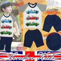 Jual Baju Setelan Anak Laki London Kids LK Mobil Putih Abu Celana Dongker Murah