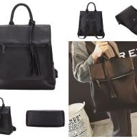 tas jinjing ransel backpack hitam kulit premium wanita import fashion