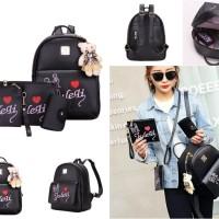 tas ransel hitam full of love cantik gambar imut wanita gadis pelajar