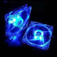 Fan Case Kipas Pendingin CPU Standard 8cm Menyala 4 Warna Lampu LED