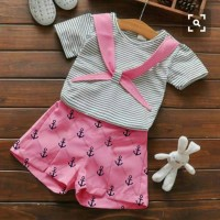Setelan Baju Anak Perempuan Umur 3 - 5 Tahun [St marine stripe SL]