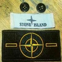 patch stone island sepaket button kancing dan label