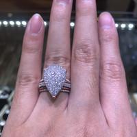 cincin berlian eropa model teardrop full diamond emas putih rosegold