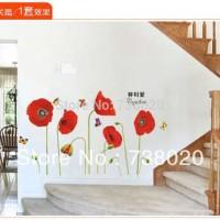 wall sticker 50x70/wall stiker trans-AY758-red poppy flowers