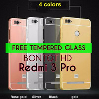 FREE TEMPERED GLASS | ALUMINIUM BUMPER CASING METAL MIRROR BACK CASE C