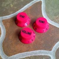 Set Knob Potensio Red Volume Tone Control Knop Gitar Ibanez Fender Esp