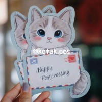 POSTCROSSING KITTY SHAPED CARD KARTU POS BENTUK UNIK LUCU SURAT SWAP