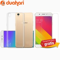 2in1 Tempered Glass OPPO F1 PLUS / R9 + Softcase Casing OPPO F1 PLUS
