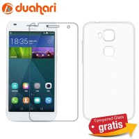2in1 Tempered Glass Huawei G7 PLUS + Soft case Casing Huawei G7 PLUS