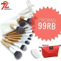 Jual 11 Pcs Bamboo Kabuki Makeup Brush Set Murah