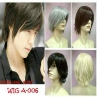 Full Wig Pria Cowok Rambut Palsu Pendek Lurus Hitam Coklat Short Hair