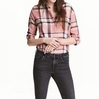 Jual Kemeja tartan cotton flanel plaid shirt kemeja motif kotak - Rose Pink Murah