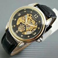 Jual Jam Tangan Rolex Automatic / Otomatis Combi Gold-Black Kulit Hitam Murah