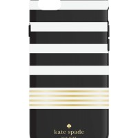 Kate Spade New York iPhone 7 Case -Stripe 2 Black/White/Gold Foil