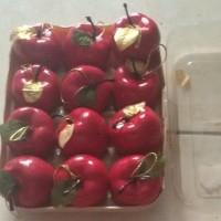 Jual Aksesoris Hiasan Natal Ornamen Bola Apel Merah Isi 12 Pcs Murah
