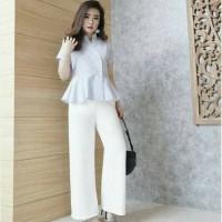 PREMIUM hitam putih celana panjang polos long cullote wanita kulot