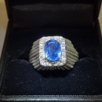 Cincin Berlian Pria Natural Blue Sapphire Berlian Eropa Emas Putih