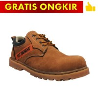 Cut Engineer Sepatu Pria Safety Low Boots Canada Leather Soft Brown