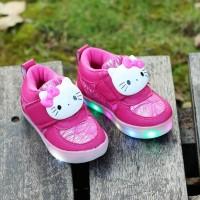 Jual SEPATU LAMPU HELLO KITTY LED Shoes Sekolah Anak Diskon Karakter Pink Murah