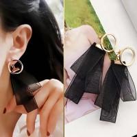 Jual Anting Korea Heart Custom Lace Satin Metal Earrings JUL235 Murah