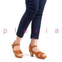 Sepatu Wanita High Heels Suede Ankle Strap RN08 Tan