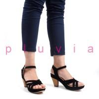 Sepatu Wanita High Heels Suede Ankle Strap RN08 Hitam