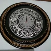 Jam Dinding Kaligrafi Kayu Jati diameter 70 cm