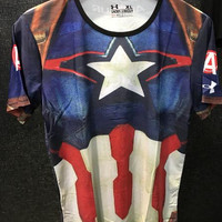 Jual Kaos Fitness Pria Under Armour Captain America 1 Premium ORI Import Murah