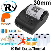 Paket Zjiang Mini Bluetooth Printer ZJ-5802 + Kertas 10 Roll 30mm