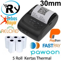 Paket Zjiang Mini Bluetooth Printer ZJ-5802 + kertas 5 Roll 30mm