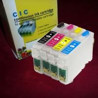 Cartridge tinta isi ulang refillable epson 73N T13 C90 TX121 TX111 dll