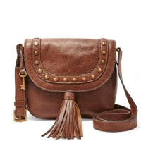 Jual tas fossil emi saddle bag emi tassel medium brown two tone studded Murah