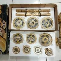 Jual 1 set barbel/dumbel besi chrome gold 15kg Murah